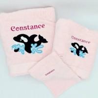 Broderie personnalisé motif orque sur serviette, drap de bain, cape de bain, peignoir ou pochon de rangement