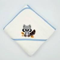 Broderie personnalisé motif raton laveur automne sur serviette, drap de bain, cape de bain, peignoir ou pochon de rangement