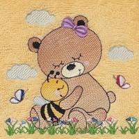 Broderie personnalisé motif ourson et abeille sur serviette, drap de bain, cape de bain, peignoir ou pochon de rangement