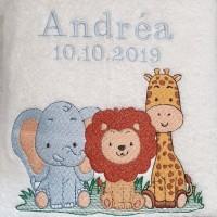 Broderie personnalisé motif éléphant lion girafe sur serviette, drap de bain, cape de bain, peignoir ou pochon de rangement