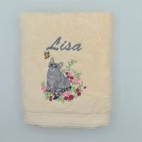 Broderie personnalisé motif chat sur serviette, drap de bain, cape de bain, peignoir ou pochon de rangement
