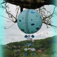suspension boule chinoise bleu ciel personnalisable et unique