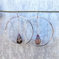 Boucles d'oreille Agate veine de dragon fumée veines noires - pierre fine - sur créoles crochets avec chaînettes argent - platine, H 5,8 cm