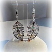 Boucles d'oreille en Quartz fantôme (pierre fine), cristal swarovski sur