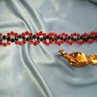 bracelet cheville rouge et noir