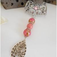 Bijou de foulard, bijou accroche foulard, glisse foulard perles rose et arabesque, accessoire de mode