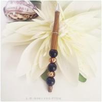 Stylo bille marron faux bois  , cadeau homme , perles de bois marron foncé et perles de verre filé
