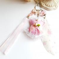 Porte clé corset rose pastel bijou de sac corset feutrine fait main cadeau Saint Valentin , anniversaire