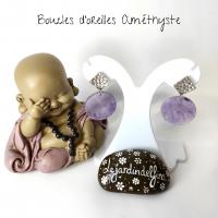 Boucles d'oreilles palets argentées en pierre naturelle