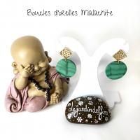 Boucles d'oreilles palets dorées en pierre naturelle