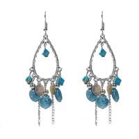 Boucles d'oreilles gouttes argentées et turquoise