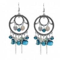 Boucles d'oreilles rondes argentées et turquoise