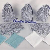 Pochon Fleurs bleues et les lingettes lavables assorties