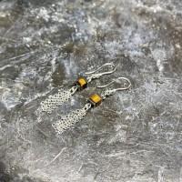 Boucles d'Oreilles Cubes Oeil de tigre, chaines Argent 925