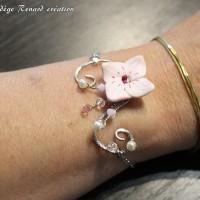 Bracelet mariage fleur de cerisier et arabesque