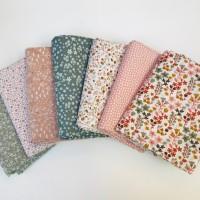 Lot 7 coupons tissus vert et rose, tissu oeko tex, assortiment tilleul, thym et roses, tissu cottagecore, tissu lingettes et essuie tout