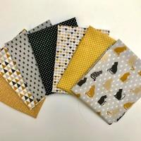lot 7 coupons tissu ocre, gris et noir avec chats, tissu oeko tex, assortiment tissus pour lingettes, pochons, essuie tout
