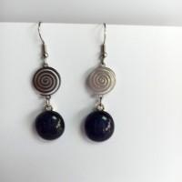 Paire de boucles d'oreilles pendantes en inox - tourbillon -noir reflets violets
