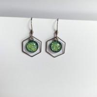 Paire de boucles d'oreilles pendantes en acier inoxydable - hexagone -  vert clair