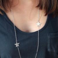 Sautoir chaine argent 925 avec 2 intercalaires forme étoile