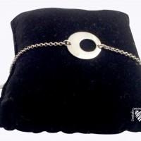 Bracelet chaine et plaque ronde évidée en argent 925
