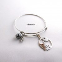 Bracelet en acier inoxydable réglable, breloques, chouette, étoiles, perle en hématite.