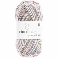 RICO DESIGN BABY COTTON SOFT PRINT dk 029 (vert pétrole lilas) 50 GR. 125 M. AIG. N° 3,5 - 4