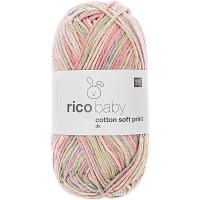 RICO DESIGN BABY COTTON SOFT PRINT dk 017 (vert pétrole rose) 50 GR. 125 M. AIG. N° 3,5 - 4