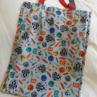 sac fourre-tout panda indien, tote bag amélioré pour enfant avec scratch et poche / gris bleu rouge