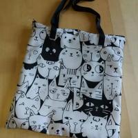 grand sac fourre-tout zippé chats noir et blanc