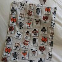 sac fourre-tout renard, tote bag fox amélioré pour enfant avec scratch et poche / beige orange et noir