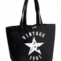 Sac cabas XXL coloris noir - Vintage + année de naissance à personnaliser - Idée cadeau anniversaire - Idéecadeau fête des mères