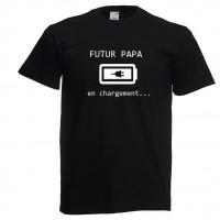 Tee shirt noir - Futur papa en chargement - annonce grossesse - cadeau fête des pères