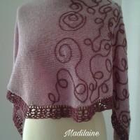 Châle tricoté main en laine merinos et shetland couleurs