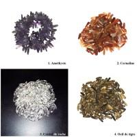 Lot de perles chips améthyste Cornaline Cristal de roche ?il de tigre