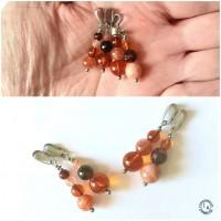 Pendentifs unisexes Elphinstone - Lot de 2 - acier inoxydable et pierres rouges oranges