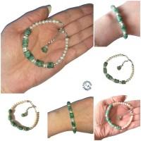 Bracelet Kawena - Emeraude, perles d'eau douce, argent