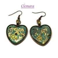 BO Steampunk coeur fond turquoise