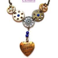 Collier Steampunk Coeur bronze et nuances de bleu