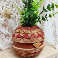 Vase / cache pot en bois et cuir