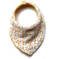 Bavoir - Serviette - Anti bavouille - de couleur blanc / orange - microfibre  et tissu éponge