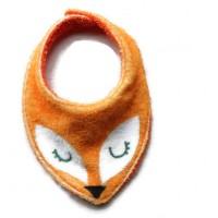 Bavoir - Serviette - Anti bavouille - de couleur orange / blanc - microfibre et tissu éponge