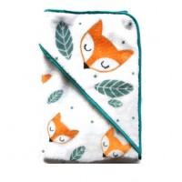 Cape de bain renard - thème renard - Orange et vert
