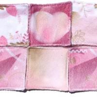 6 Lingettes lavables de 10cm - thème  rose - ton rose et rayures - microfibre et éponge