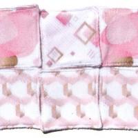 6 Lingettes lavables de 10cm - thème rose - ton rose et rayures - microfibre et coton50