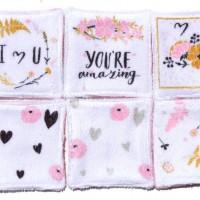 12 Lingettes lavables de 10cm - thème fleurs - rose, moutarde et blanc - microfibre et éponge