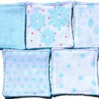 9 Lingettes lavables de 10cm - thème hiver - bleu - microfibre et éponge