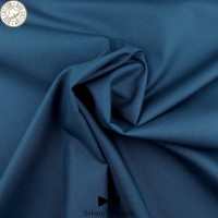 Tissu popeline unie GOTS bleu marine. Séléné Mercerie