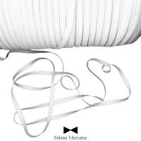 Élastique plat 5 mm blanc 4 gommes vendu x10 mètres. Séléné Mercerie