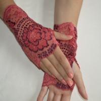 Mitaines bracelet poignet dentelle rouge extensible pouce apparent chaude couverture pour prothèse de main
